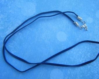 Dark-Blue, Suede-cord Necklace