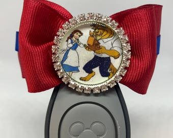 Rhinestone Belle Beauty and the Beast Magic Band Hair Bow