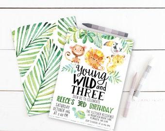 Wild Jungle Birthday Party Invitation, Prints, Young Wild and Three Invite, 3rd, Palm, Lion, Monkey, Turtle, Animals, Safari, Printed, Zoo