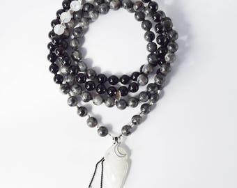 Humble Warrior Mala, 108 Gemstone Mala Beads, Larvikite Black Tourmaline Moonstone Mala Necklace, Japa Mala Prayer Beads, Yoga Jewelry