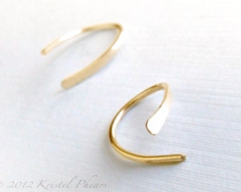 Gold Earring - open hoops swish simple classic Gift cold formed hand hammered 14k gold-filled yellow white rose