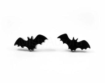 Halloween Jewelry, Tiny Bat Studs, Black Bat Stud Earrings, Spooky Earrings, Halloween Earrings, Black Bat Jewelry, Creepy Novelty Jewelry