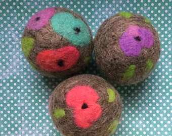 Ovella Wool Dryer Balls: The Flor Collection - set of 6 six flower, unscented, colorful, unique, bright, pink, green, teal, yellow, purple