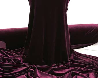 Stretch Spandex EGGPLANT  or Aubergine ,  Velvet   4 ways stretch..formal wear, pageant, home decor, crafts, bridal