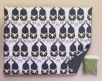 Catnip Mat plus Catnip  Black Cats White Mice Refillable Reversible