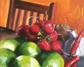 Bounty - acrylic still life painting of limes, radishes, peppers, garlic and ginger