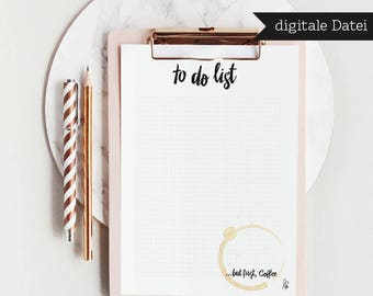 PRINTABLE / To do list …but first coffee / A4 / Notes / Shopping list / tasks / Goals / Planner / Instant Download