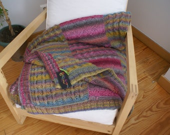 Cupcake -  knitted handmade wool afghan-Knitted wool quilt-Quilted afghan-Knitted wool blanket-Wool knitted bed cover-Wool handmade throw