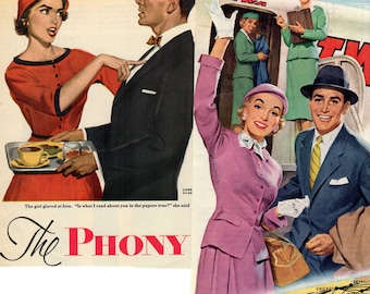 1940's - 50's Ads of People Hertz TWA Proctor Veto Fun and Colorful Illustrations Ephemera
