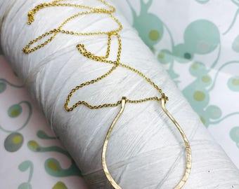 14K Gold Fill - Horseshoe necklace / gold stick necklace / hammered necklace / gold necklace / minimalist / stick necklace / layering