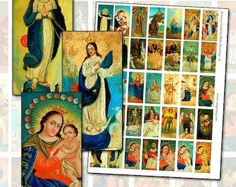 Antique Catholic Paintings III  domino sized digital collage sheet for necklace art 25mm x 50mm 1x2 inches latin america colonial folk art