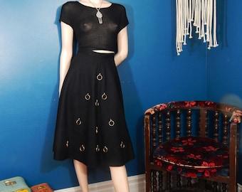 Vintage 1950's Black Felt Circle Skirt |  Poodle Skirt | Gold Hoop Detail