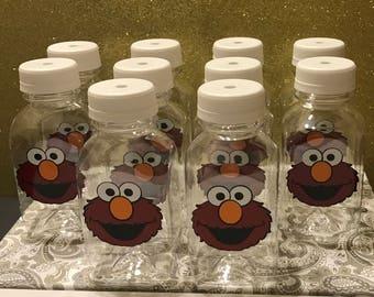 12- Elmo Sesame Street 8 oz or 12 ox Vinyl Cups Plastic Milk Bottles with Lids