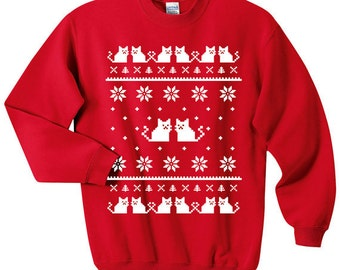 Ugly Christmas Sweater - Cat Sweatshirt - Unisex Sizes S, M, L, XL