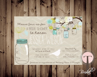 Printable Bridal Shower Invite Hanging Mason Jars/Bridal Shower INVITATION, 1093