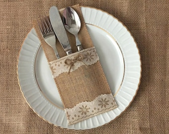 10 burlap and natural color lace silverware holders - wedding table decor, bridal shower.