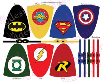Superhero Lollipop Capes and Masks / Superhero Party / INSTANT DOWNLOAD / Printable