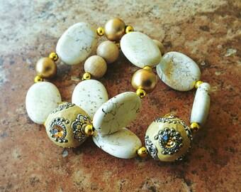 Ivory Beaded Bracelets, White Howlite Bracelet Set, Jewelry Set, Natural Stone Jewelry