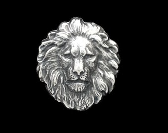 50off Silver Plated Brass Regal Lion Head Large Stamping 42mm x 48mm Perfect for Steampunk Art Made in the USA Brass