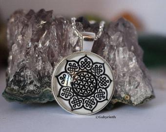 Flower Mandala Celtic knot pendant