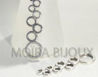 """6 connectors """"art nouveau"""" silver plated bubbles 46x12mm estate"""