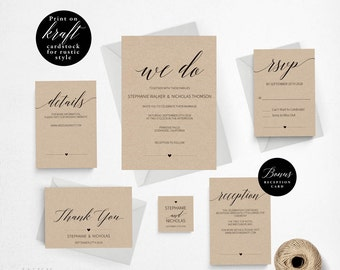 Rustic Wedding Invitation Template, We Do Wedding Invitation Printable, Vintage Invitation, Cheap Invitation, DIY PDF Instant Download #E015