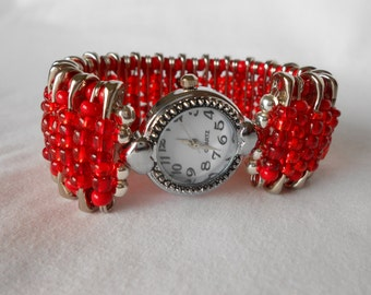 Safety Pin Beaded Watch ValentineRed