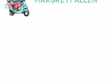 Customized Notepad w/A Vespa Scooter Weighted Down with Flowers next to Name (40 pages)