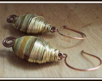 SALE Copper and Gold Wrapped Up Earrings