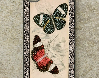 iPhone Cover(all models) - Butterfly - smartphone - Mobile - Vintage Illustration - Art - Samsung Galaxy S3 S4 S5 mini S6 S7 S8 & more