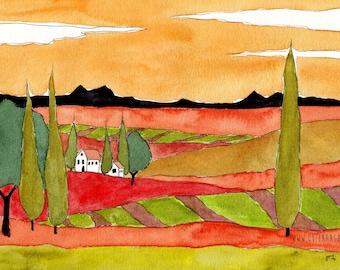 114* Tuscany Italy Landscape Watercolor Italian