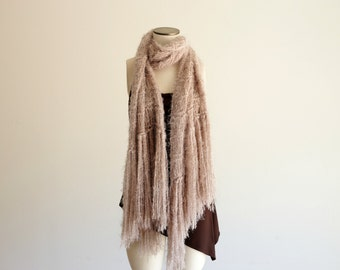 Large Knit Scarf, Huge Scarf Beige Colored Warm Scarf Light Brown Knit Accessories Tan Taupe