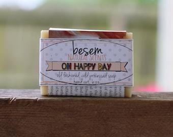 Oh Happy Day soap // sweet orange, vanilla, natural, cold process soap, artisan, palm free soap