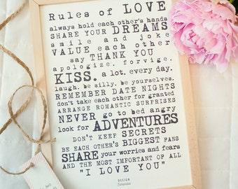 Printable wedding sign art Rules of love - digital print