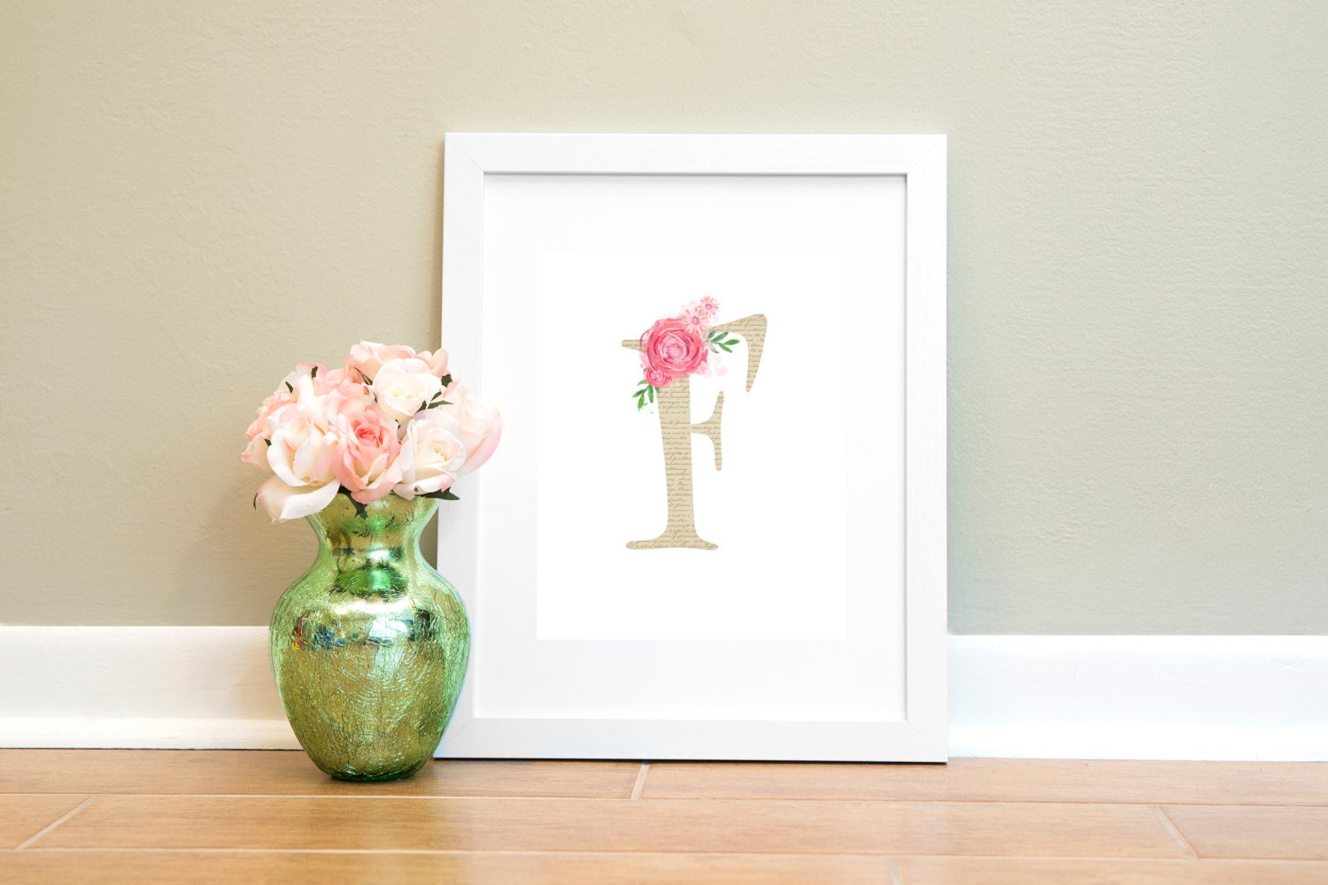 Floral monogram letter f printable wall art letter f print zoom jeuxipadfo Images