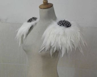 Handmade white coque feather epaulette pads adorned with spike applique # FSP16004W