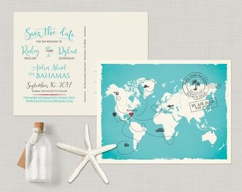 World map Destination wedding The Bahamas customizable with your venue location - bilingual wedding Save the Date Card DEPOSIT PAYMENT