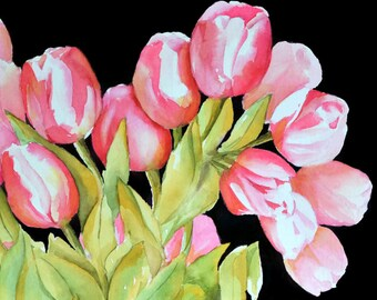 Tulip Art Watercolor Painting, Fuschia Painting, Pink Flower Art, Black Background, Dark Pink Painting, Fuchsia Picture, Feminine Art,Tulips