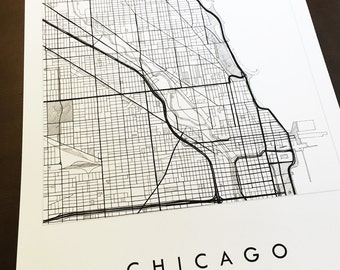 CHICAGO Map Street Map ILLINOIS City Map Drawing Black and White (Art Print) Wedding Anniversary Gift Wall Decor