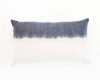 Dip Dye Pillow Cover   Horizontal Grey Tie Dye, Various Sizes