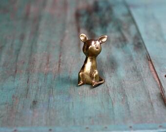 Perched Brass Mouse, Brass Mouse Figurine, Vintage Brass Figurine, Brass Mouse, Mouse Decor, Vintage Brass, Brass Animal