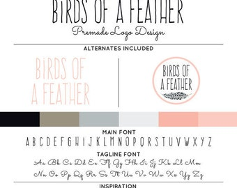 Tribal Feather Logo & Watermark Premade Design - Custom Business Branding / Personal Name Text Graphics - Includes Alternates