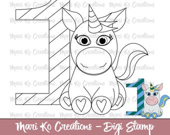 Birthday Unicorn #1  Digital Stamp 300 dpi png