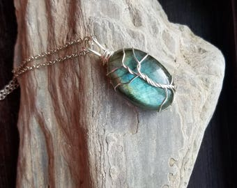 Tree of life necklace, blue Labradorite necklace, Robin's egg blue, aqua blue stone, dainty, new jewelry, wire wrapped Jewelry, gift for her