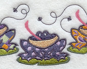 Patterned Frog Trio Towel Embroidered Flour Sack Hand/Dish Towel