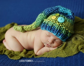 Luminous - Buttons and Knots Stocking Cap newborn baby elf hat blue green bright colorful