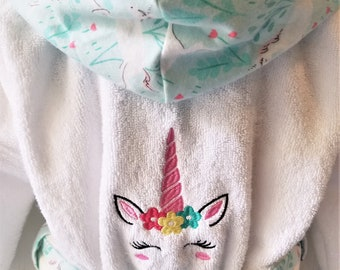 Personalized-Girls-Bath-Robes-Bathrobes-Pink-Unicorn -Child-Beach-Hooded-Towels-Swimwear-Terry-Beach-Cover-Up-Baby-Toddler-Kids-Teen-Gift