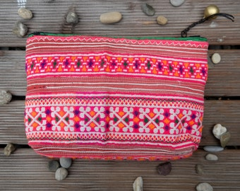 Toiletry Kit, Travel Case, Cosmetic, Clutch, Pouch, Organizer, hmong hill tribe, thai cotton, embroided, unique, ethnic, boho,pink, handmade