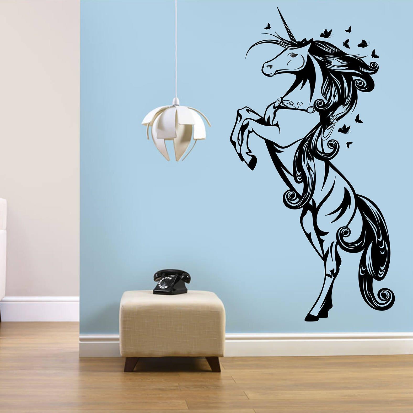 Wandtattoo Einhorn Einhorn-Wand-Dekor Art Sticker Fantasy
