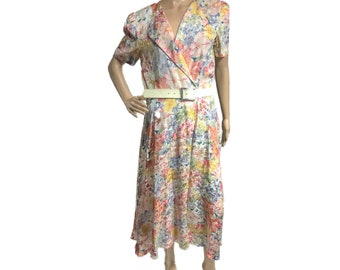Women's Vintage Talbots silk floral pastel dress